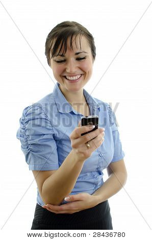 Business Woman Dials The Phone, Isolated On White