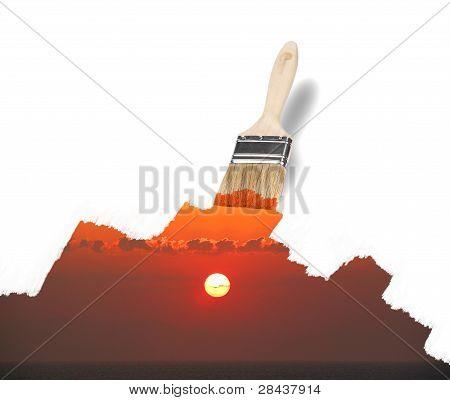 Paintbrush Painting A Wonderful Sunrise