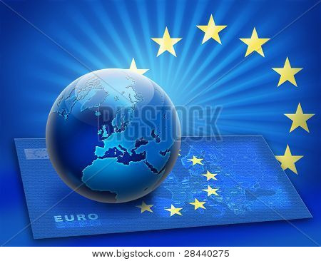 United Europe Flag And Globe Over Map
