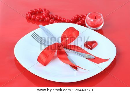 Romantic Dinner on red background