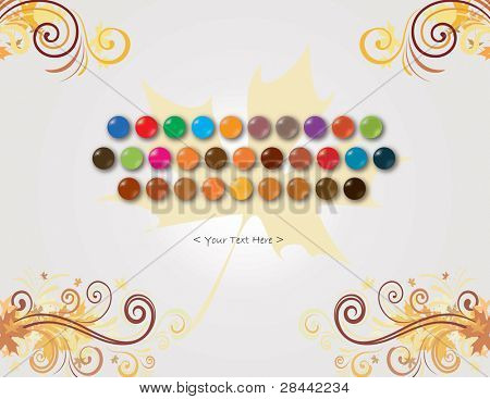 Abstract colorful keyboard without text for web used on maple leaf background. AI10 EPS saved
