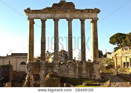 Temple of Saturn ruins at Forum Romanum