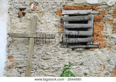 An Old Wall And A Cross