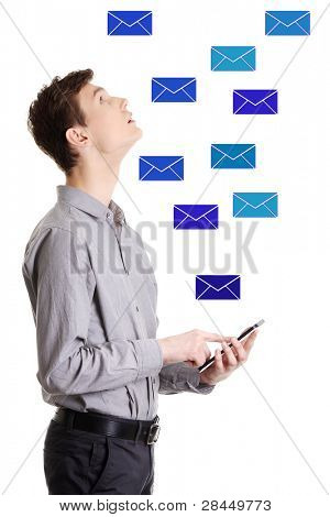 Young businessman using tablet computer - sending email