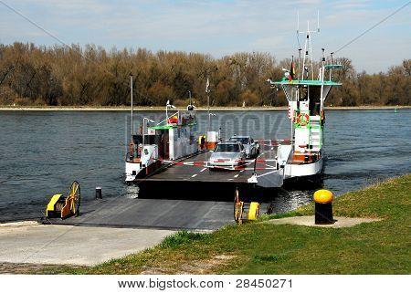 Car ferry on the Rhine