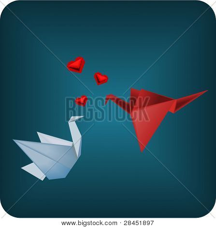 Origami birds in love