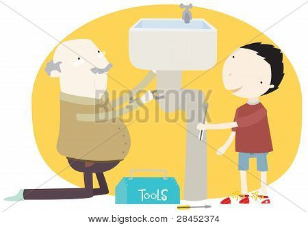 Grand dad and grandson working on a sink