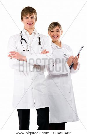Medical Team Of Doctors, Woman And Man, Isolated On White Background