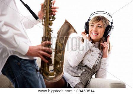 Lovely Girl In Headphones Listening Music