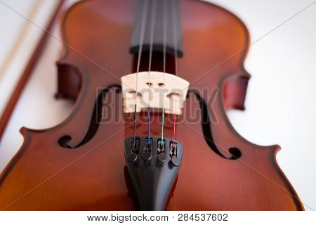 Violin with bow in white