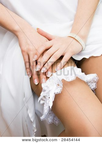 Garter on the leg of a bride