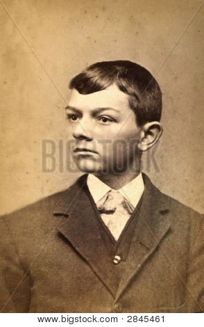 Vintage 1882 Photo Of A Boy
