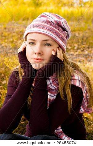 beautiful thoughtful girl in the park