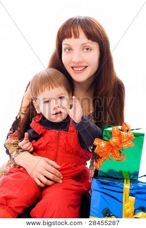 happy mother and her little son with a lot of presents isolated against white background