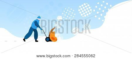 Janitor In Warm Clothes Using
