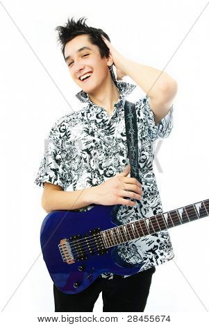 handsome confident young man with a guitar against white background