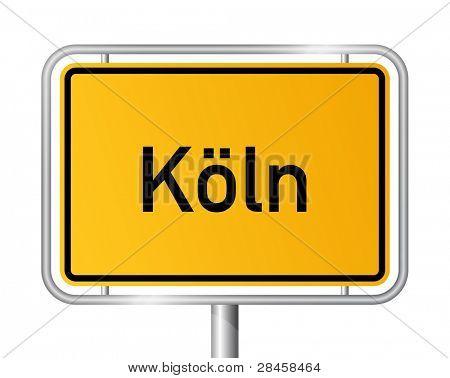 City limit sign COLOGNE / KÃ?LN against white background - federal state of North Rhine Westphalia / Nordrhein Westfalen