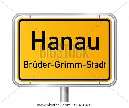 City limit sign HANAU against white background