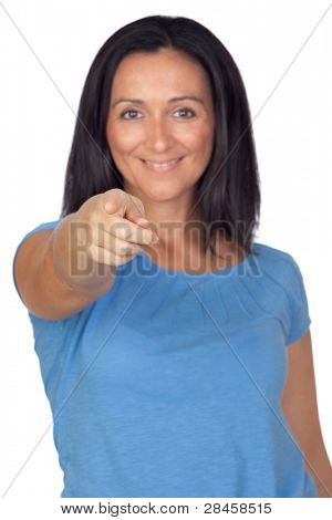 Adorable woman pointing to the front with focus on her index finger isolated on a over white background