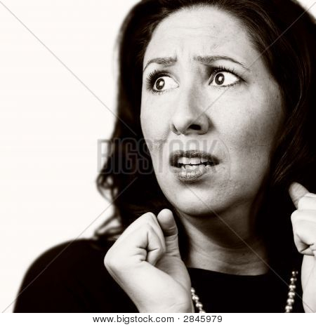 Frightened Hispanic Woman