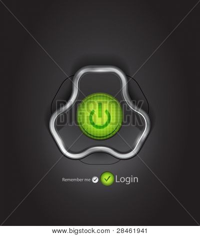 Vector login page with futuristic power button