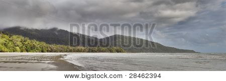cape tribulation tropical rain forest queensland Australia Daintree rainforest panorama landscape beach dark clouds