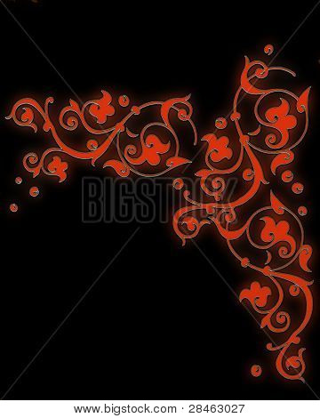 Bright Red Pattern Consisting Of Scrollwork On A Black Background