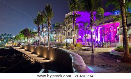 Seaside promenade at night in Puerto Vallarta, Mexico.