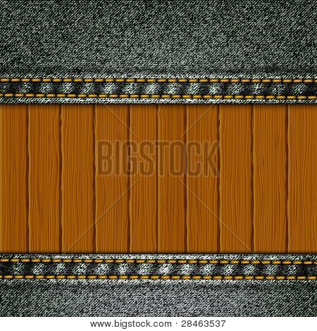 Realistic vector denim background with wood elements.