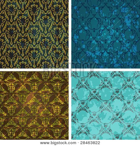 Background set of retro style wallpaper vintage and soiled with floral. Vector illustration