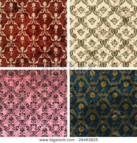 Background set of retro style wallpaper vintage and soiled with flowers. Vector illustration