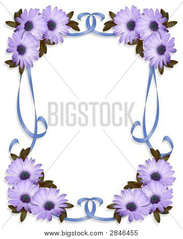 Blue Daisy Wedding Invitation Background Stock photo