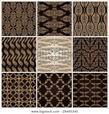 seamless vintage background set ornate baroque wallpaper. Vector copy search in my portfolio.