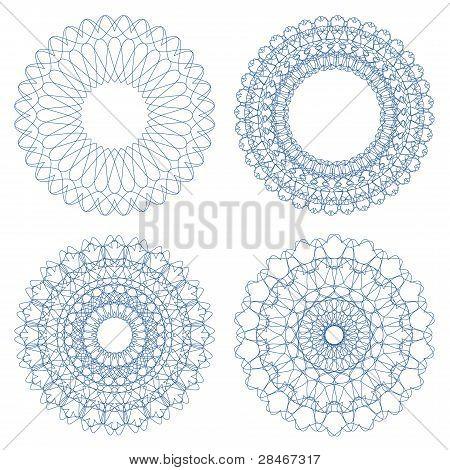 Set of blue vector guilloche rosettes