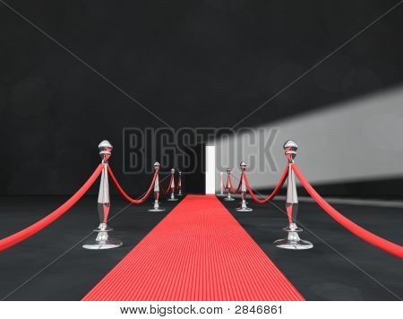 Open Door Light With Red Carpet And Chrome Polls On Grey Walls