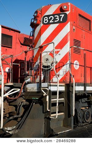 Detail of a diesel north american locomotive
