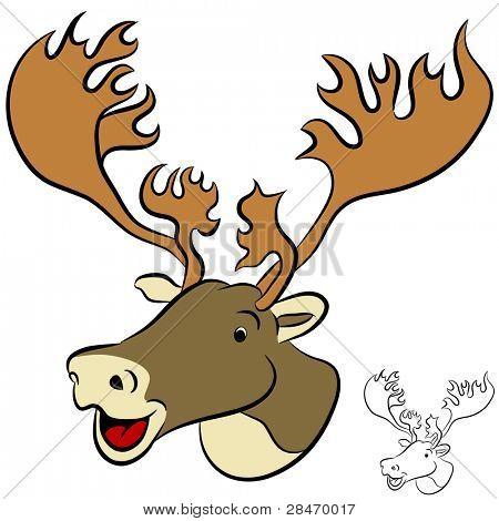 An image of a cartoon caribou face.