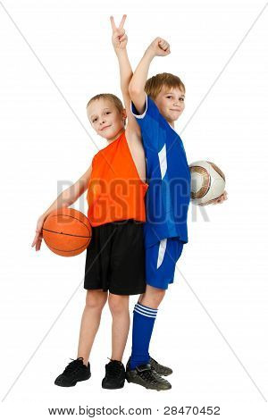 Two Boys - A Basketball Player And Footballer With Balls