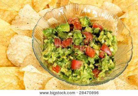 Bowl of Guacamole on a bed of tortilla chips