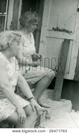 Vintage photo of two women (fifties)