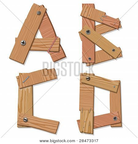 Rustic Wooden Font Alphabet Letters ABCD