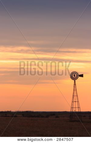 Windmill On An Orange Horizon