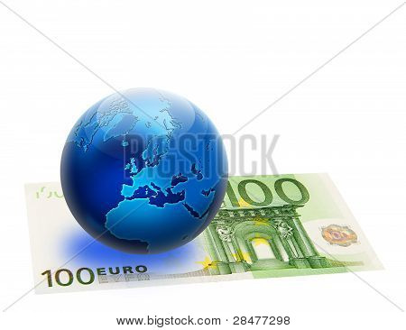 United Europe Flag And Globe Over 100 Euro