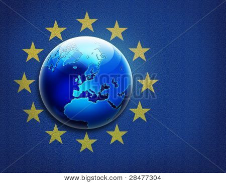 Textured United Europe Flag And Globe Over It
