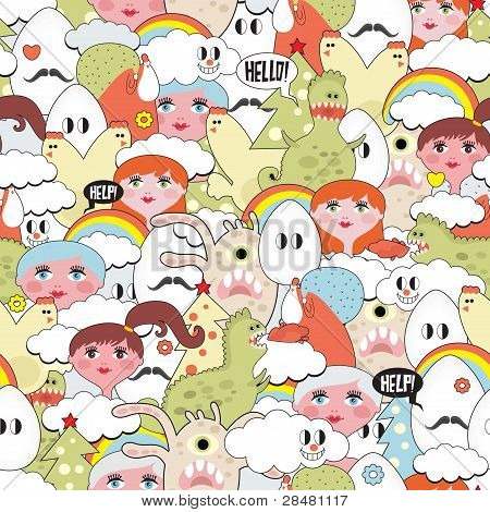 Crazy seamless pattern with strange creatures.