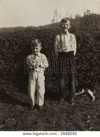 Jahrgang 1938 Foto Kids und Kürbisse