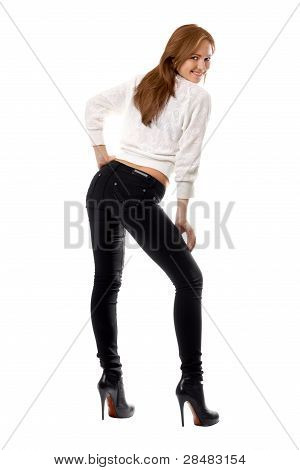 Attractive Smiling Girl In Black Tight Jeans
