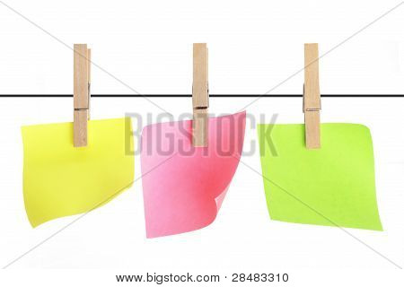 Adhesive Note Papers Hanging on Clothesline