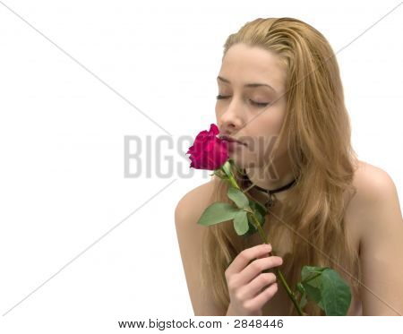 Beauty Girl With Red Rose