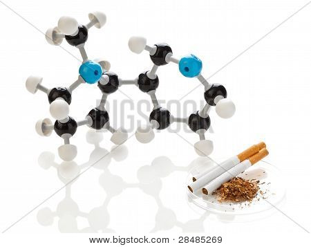Nicotine Molecule With Tobacco And Cigarettes